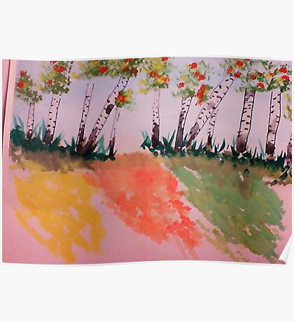 Birch Trees Along Path on Hill, watercolor Poster