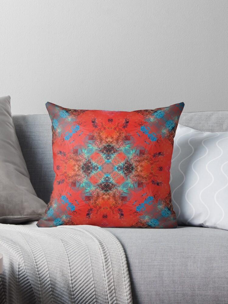 \'Southwestern Decor Orange Turquoise Square tile pattern\' Throw Pillow by  Sheila Wenzel Ganny