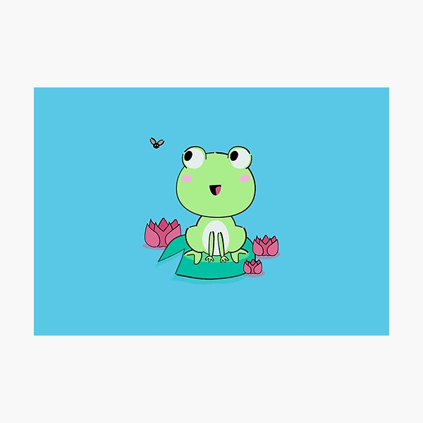 Kawaii frog with waterlily flowers Photographic Print