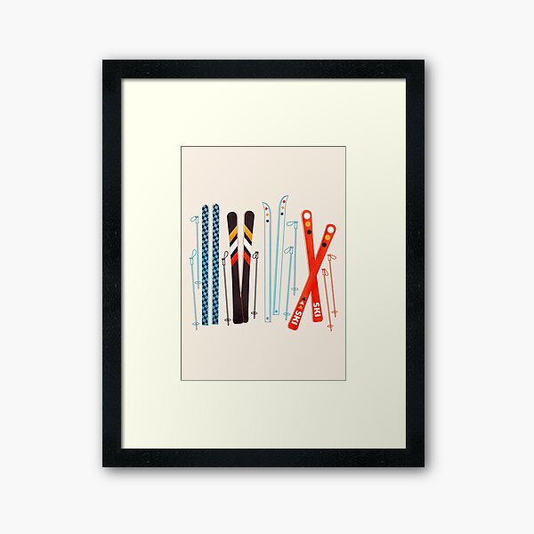 Colorful Retro Ski Illustration Framed Art Print