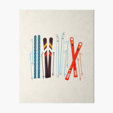 Bunte Retro- Ski-Illustration Galeriedruck