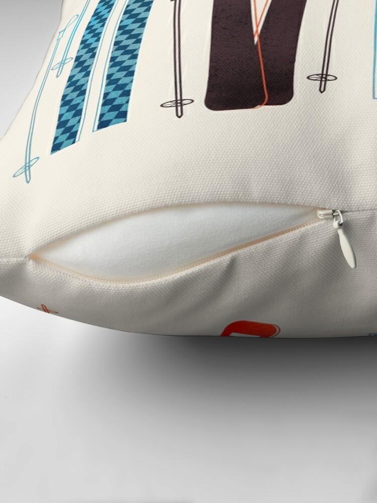 Alternate view of Colorful Retro Ski Illustration Throw Pillow
