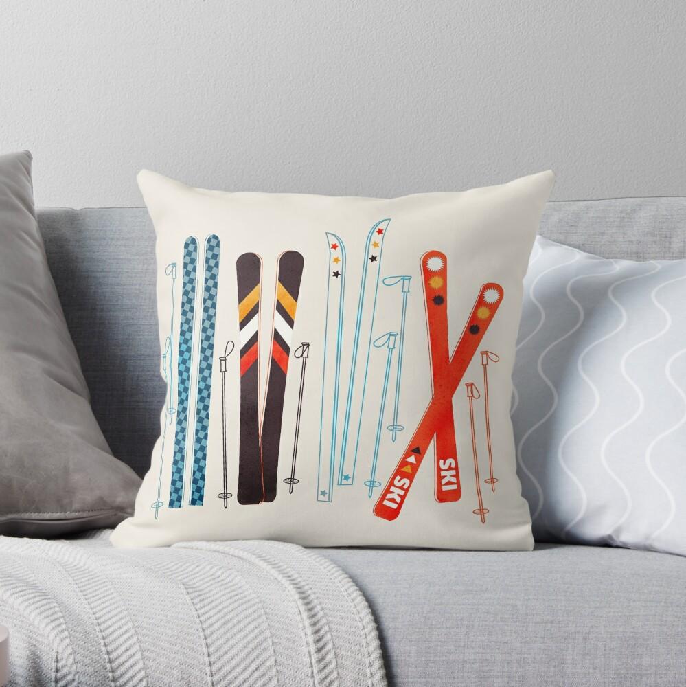Colorful Retro Ski Illustration Throw Pillow