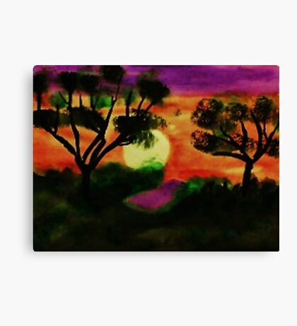 WOW, what a sunset, watercolor Canvas Print