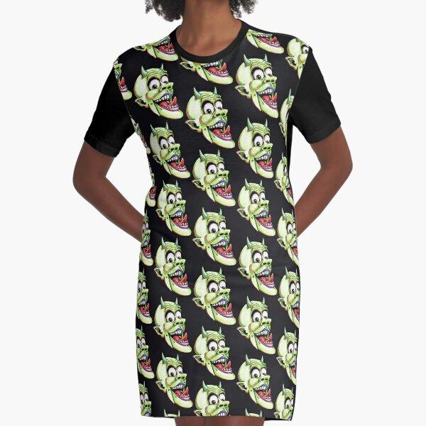 Green Devil puppet head Graphic T-Shirt Dress