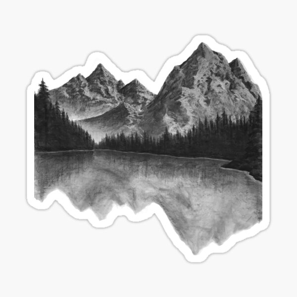 Mountains with Reflection on Lake Sticker
