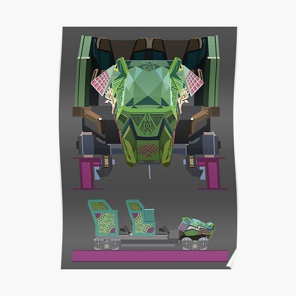 Iron Gwazi Coaster Car Design Poster