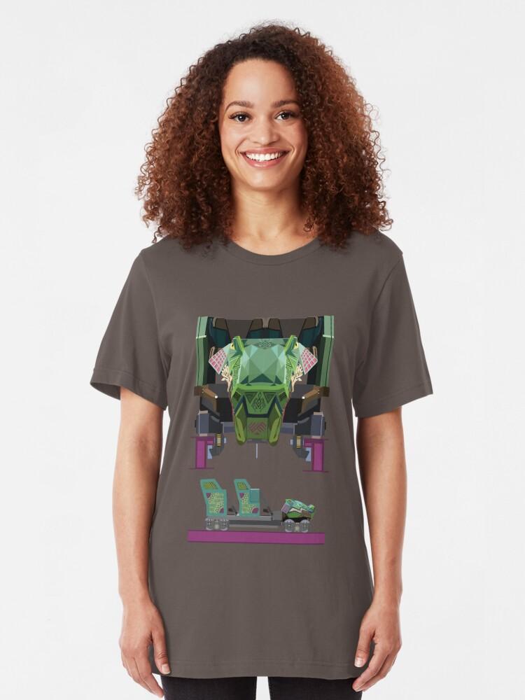 Alternate view of Iron Gwazi Coaster Car Design Slim Fit T-Shirt