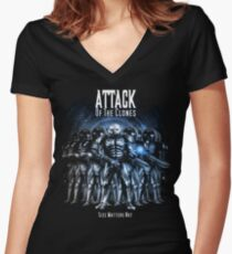 Sontaran's: Attack of the Clones - Size Matters Not Women's Fitted V-Neck T-Shirt