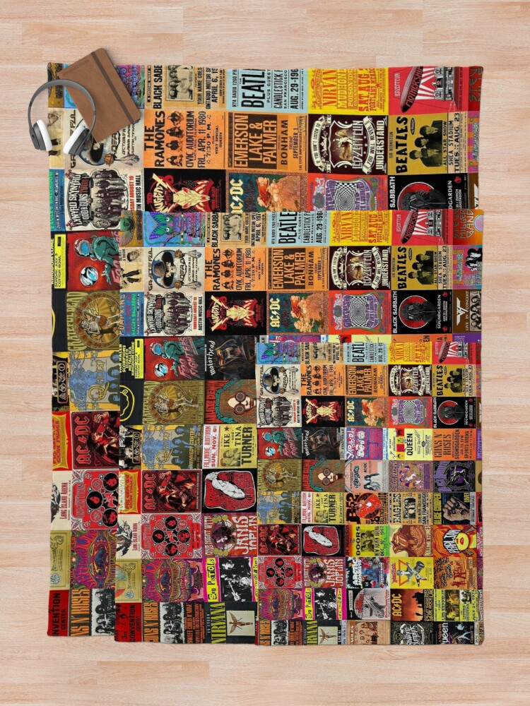 Alternate view of Rock Band Posters Throw Blanket