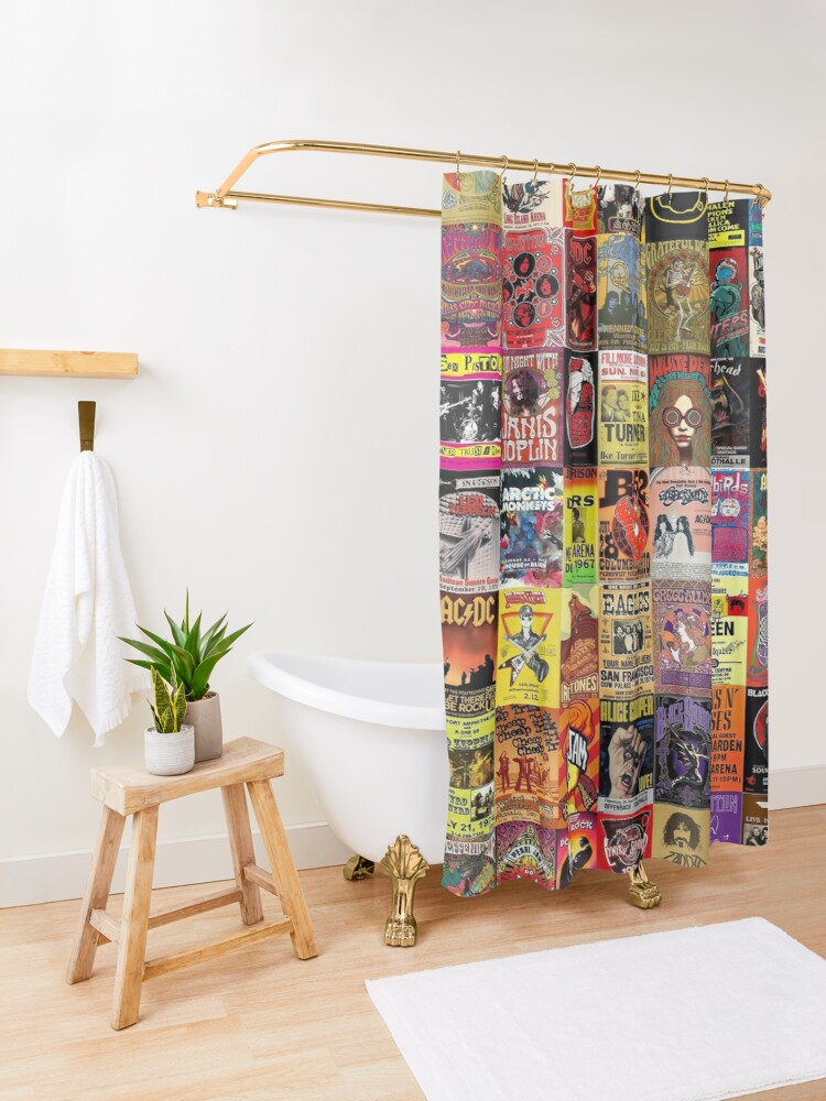 Alternate view of Rock Band Posters Shower Curtain