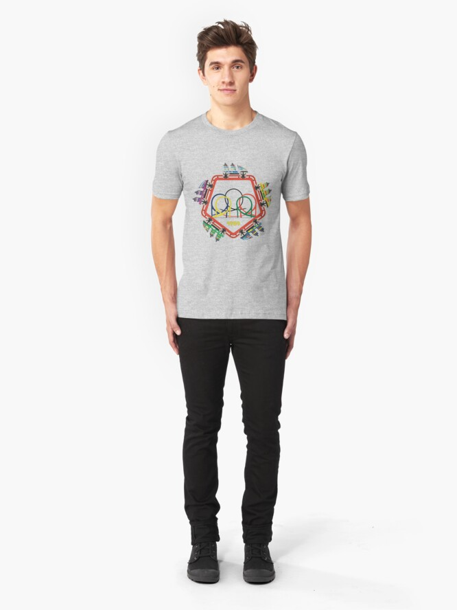 Alternate view of Olympia Looping 5 Coaster Car Design Slim Fit T-Shirt