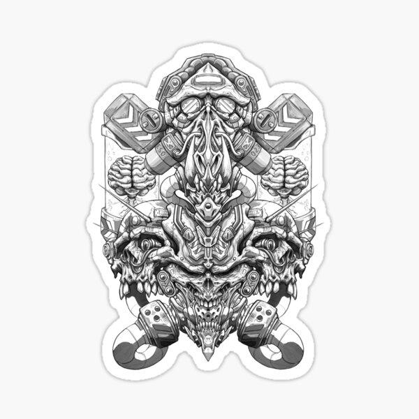 Biomechanical Skulls Sticker