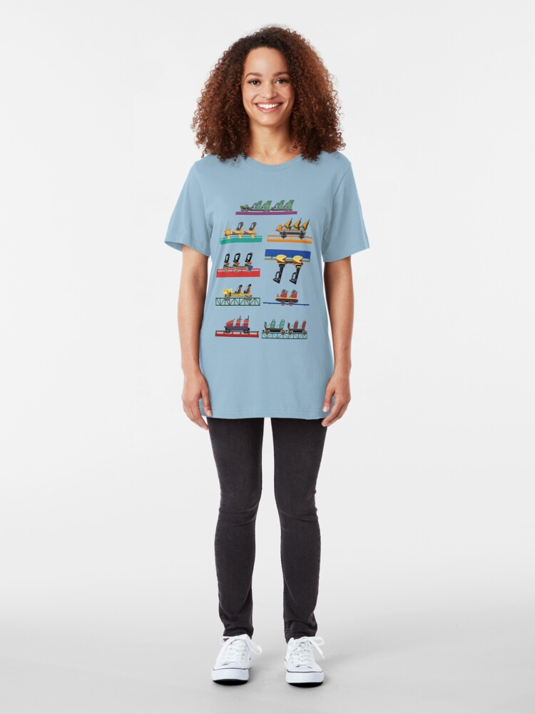 Alternate view of Busch Gardens Coaster Cars V2 Design (with Iron Gwazi!) Slim Fit T-Shirt