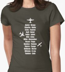 Pilot Phonetic Alphabet Military Cadet Airplanes Women's Fitted T-Shirt