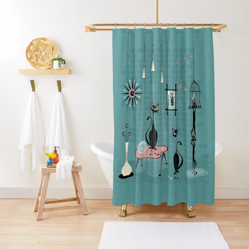 Mid Century Kitty Mischief III ©studioxtine Shower Curtain
