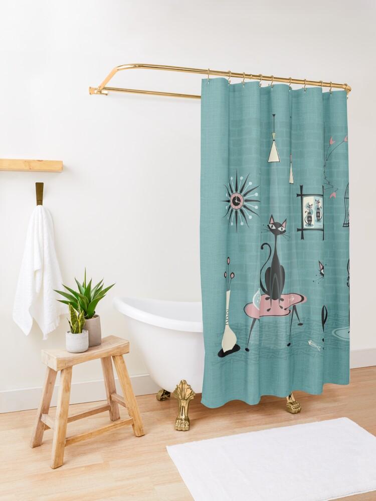 Alternate view of Mid Century Kitty Mischief III ©studioxtine Shower Curtain