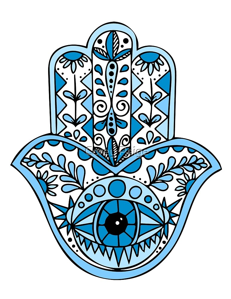 Blaues Hamsa von Corey Paige Designs