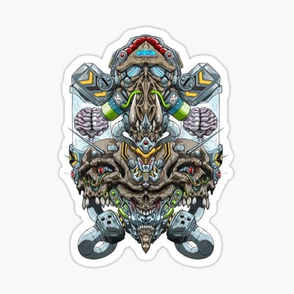 Biomechanical Skulls colour Sticker