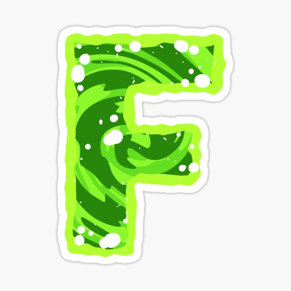 Rick and Morty Green Portal - Capital Letter F Sticker