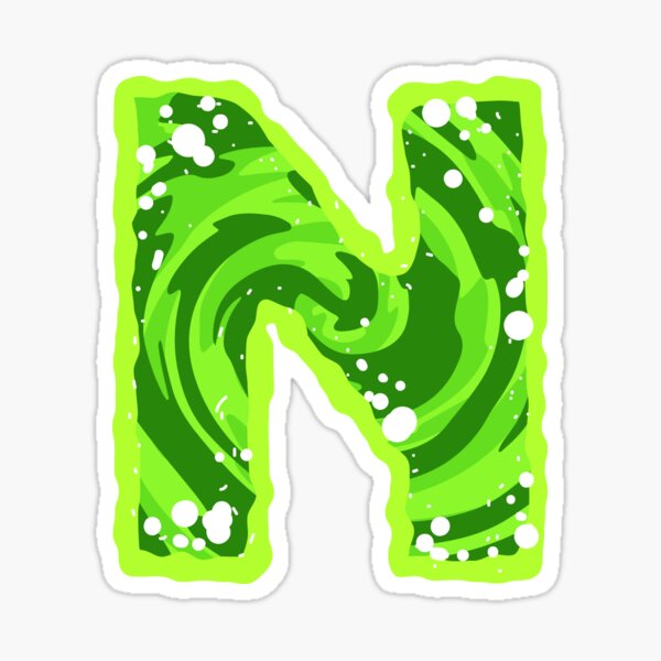 Rick and Morty Green Portal - Capital Letter N Sticker