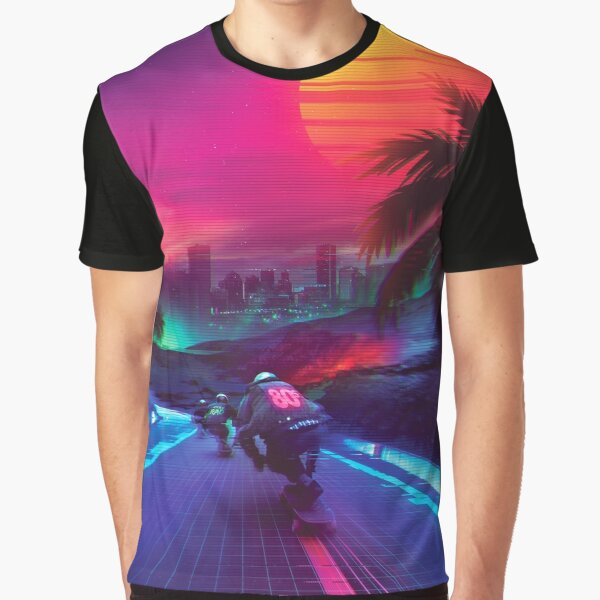 Synthwave Midnight Outrun Graphic T-Shirt