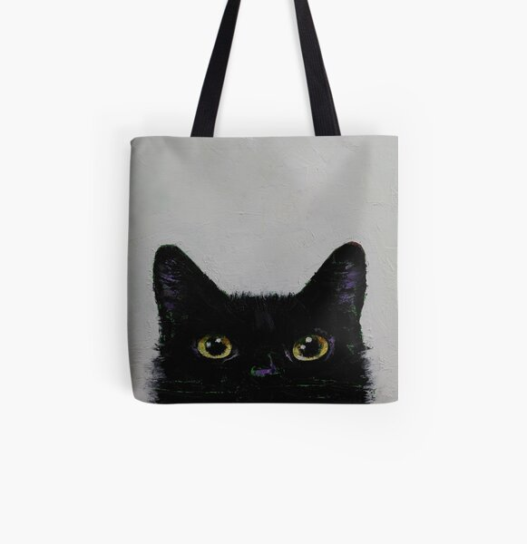 Black Cat All Over Print Tote Bag