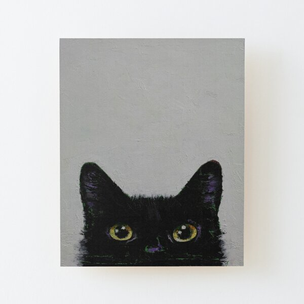 Black Cat Wood Mounted Print