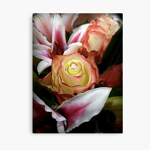A SPECIAL ROSE WITH LILIES Canvas Print
