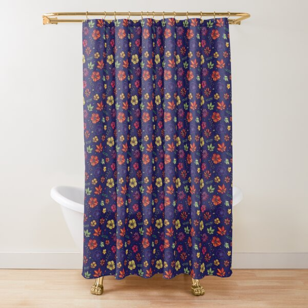 Bright linear summer flowers Shower Curtain