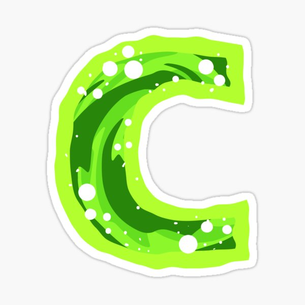 Rick and Morty Green Portal - Lower Case Letter C Sticker