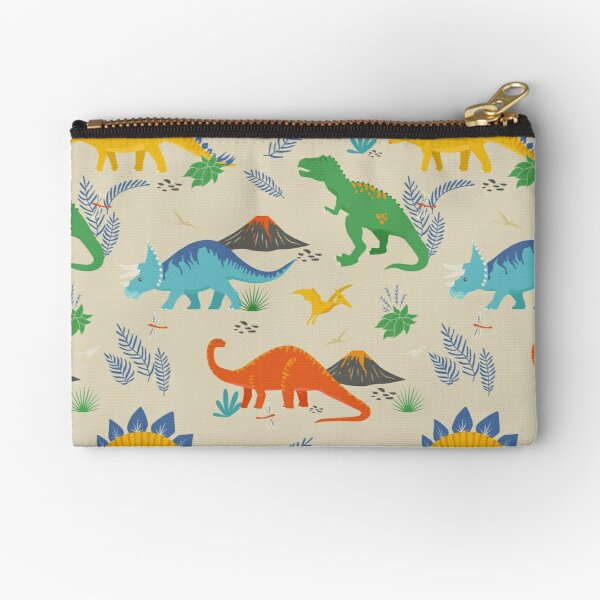 Jurassic Dinosaur in Primary Colors Zipper Pouch