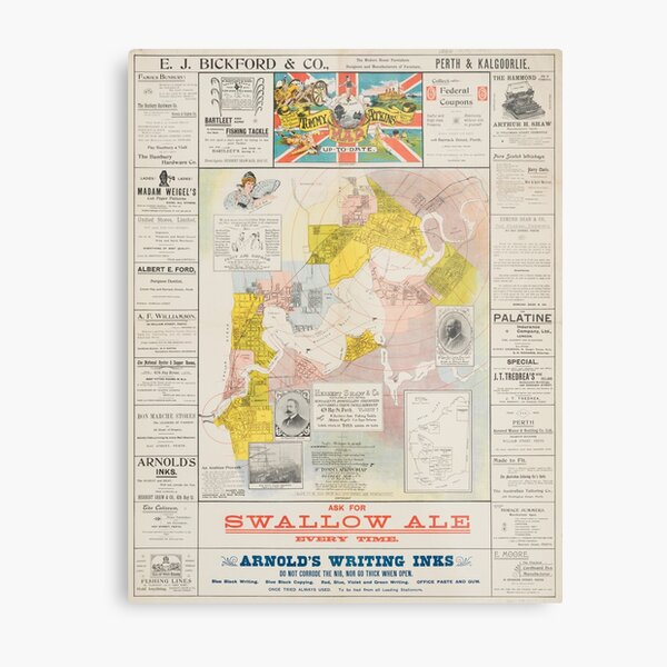 Map of Perth and Fremantle suburbs from East Fremantle to the Race Course, 1900, State Library of Western Australia Metal Print