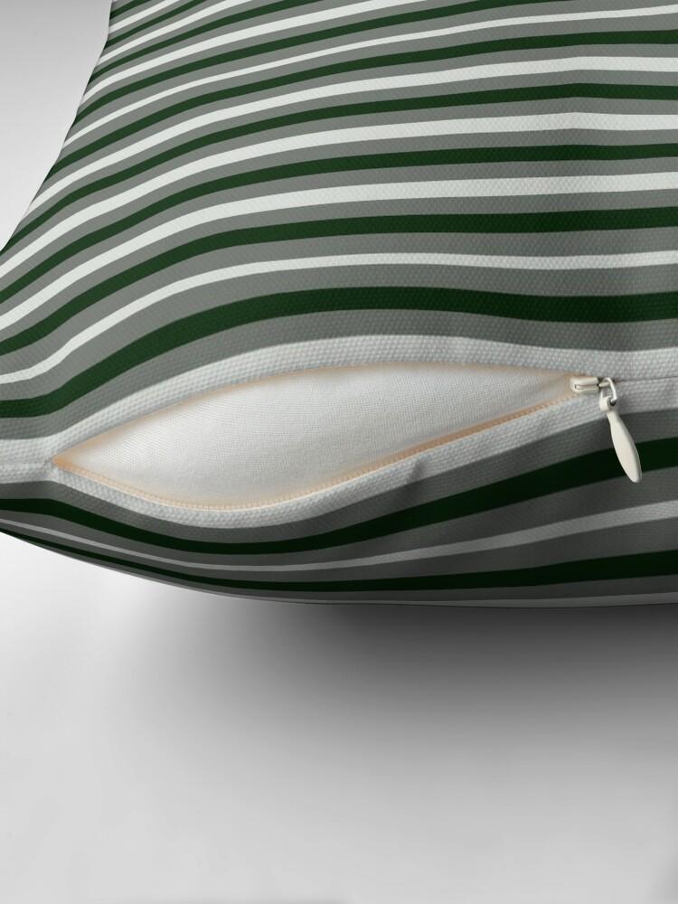 Alternate view of Dinner Stripes - Deep Green Throw Pillow