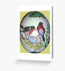 European Robin on Austrich-egg Greeting Card