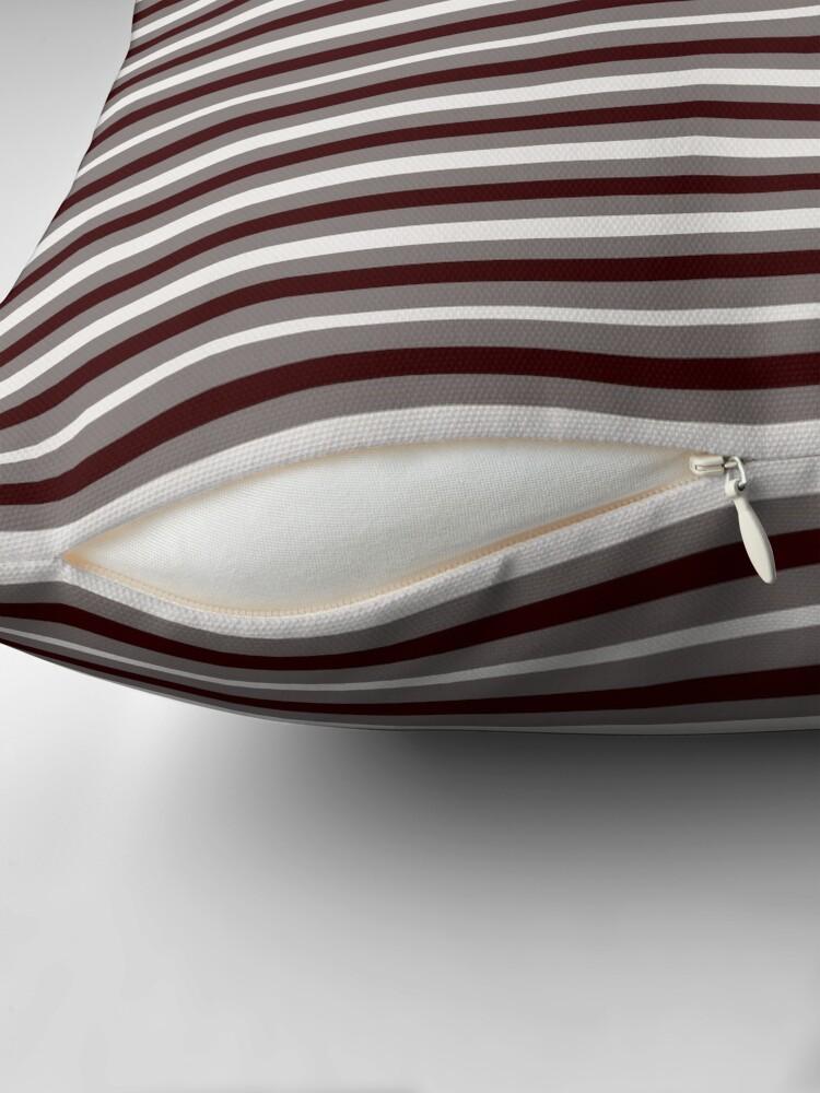 Alternate view of Dinner Stripes - Deep Red Throw Pillow