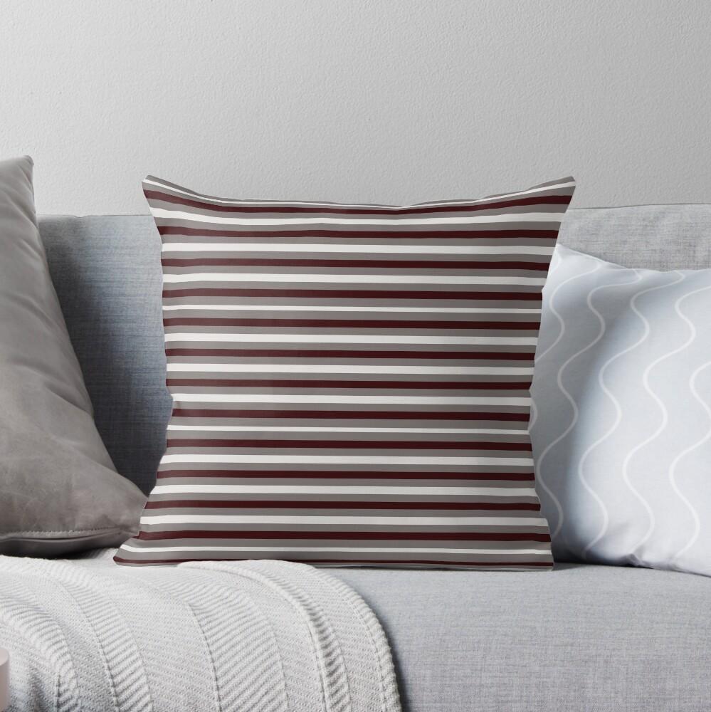 Dinner Stripes - Deep Red Throw Pillow