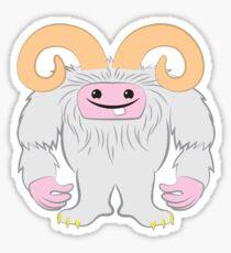 White toothy yeti Sticker