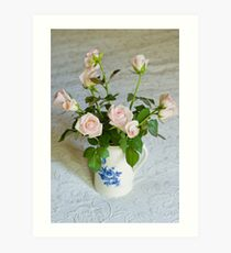 Pink roses in blue and white jug Art Print