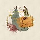 Abstract watercolour and gold by cardwellandink