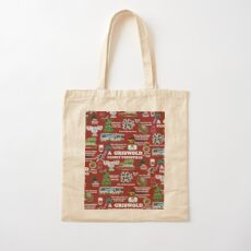Christmas Vacation Collage Cotton Tote Bag