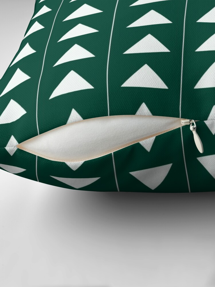 Alternate view of Pyramid Triangles - Turquoise Green Throw Pillow