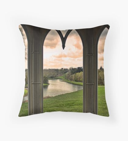 Lake view from Gothic Temple Throw Pillow