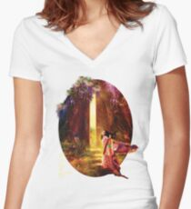 A Knock At The Door Women's Fitted V-Neck T-Shirt