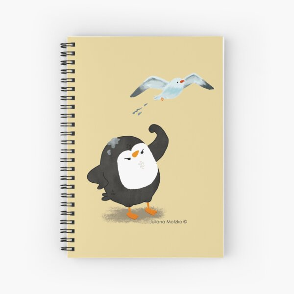Grumpy Penguin and the Seagull Spiral Notebook