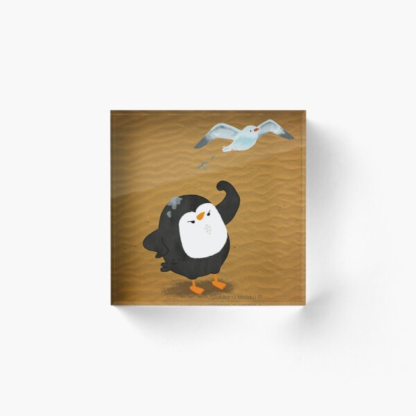 Grumpy Penguin and the Seagull Acrylic Block