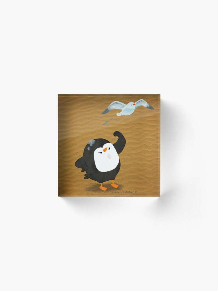 Alternate view of Grumpy Penguin and the Seagull Acrylic Block