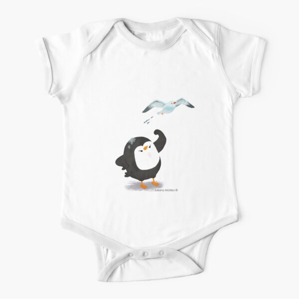 Grumpy Penguin and the Seagull Short Sleeve Baby One-Piece
