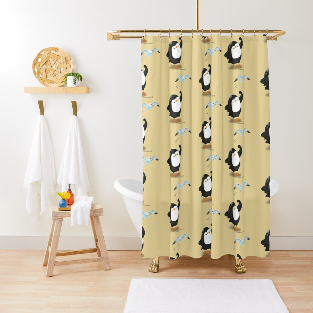 Grumpy Penguin and the Seagull Shower Curtain