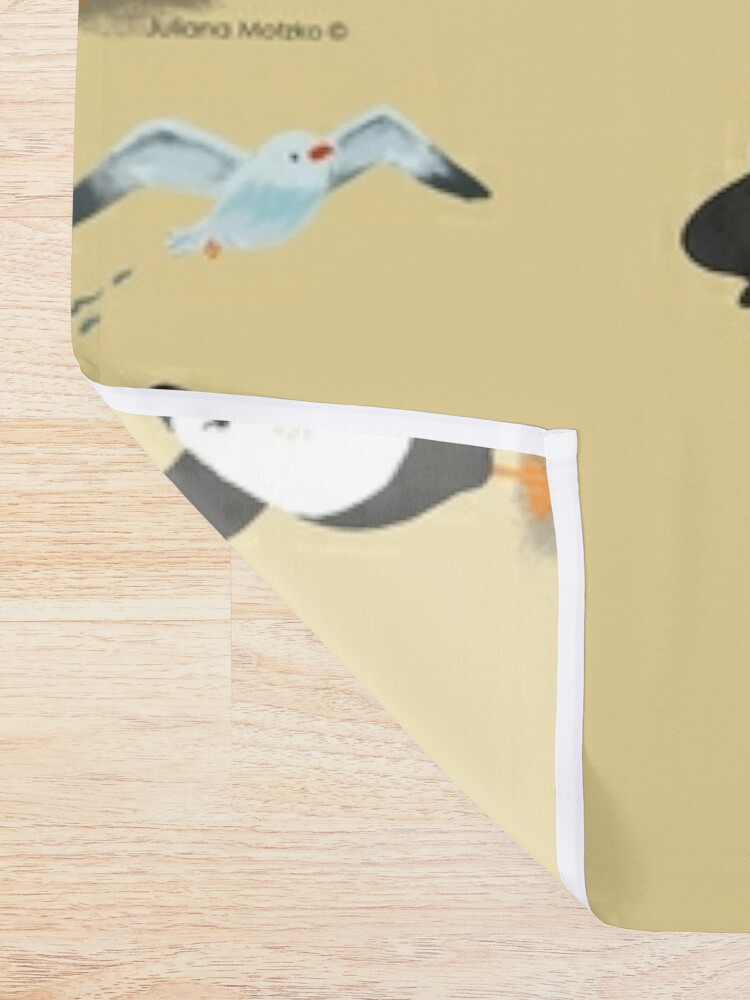 Alternate view of Grumpy Penguin and the Seagull Shower Curtain